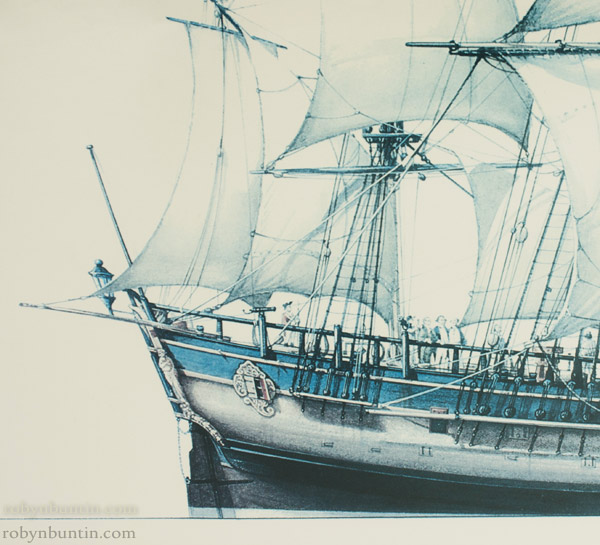 HM Bark Endeavour by Russ Shardlow (Polynesian Print)