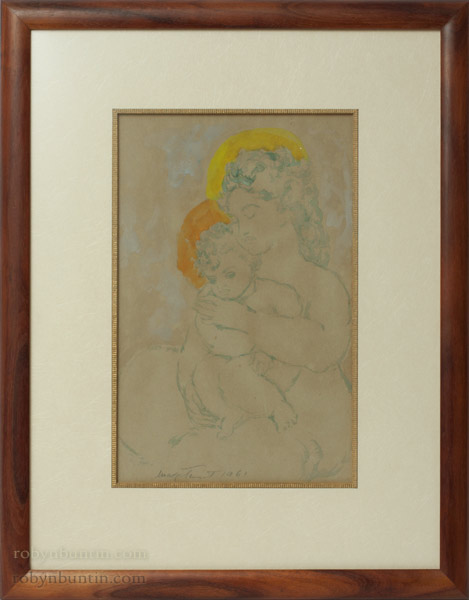 Blue Madonna & Child by Madge Tennent (Hawaiian Painting/Drawing)