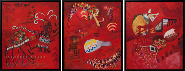 Shabuinui Triptych by Pamela Andelin (Hawaiian Painting/Drawing)