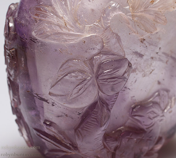 Carved Amethyst Snuff Bottle by Anonymous (Chinese Sculpture)