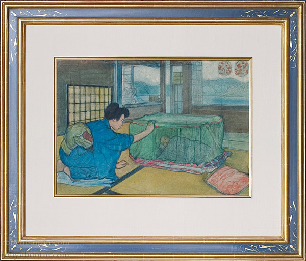 Japanese Mother & Child by Charles W. Bartlett (Japanese Painting/Drawing)