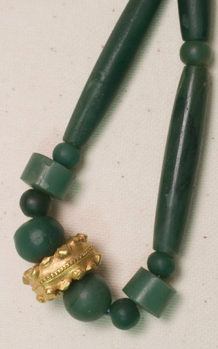 Pyu Flourite, Agate, & Gold Necklace by Anonymous (Southeast Asian Jewelry)
