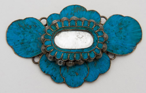 Chinese Ornament with Blue Kingfisher Feathers by Anonymous (Chinese Jewelry)