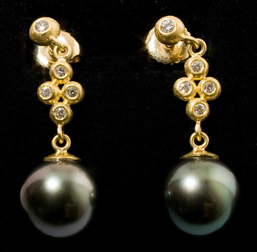 Tahitian Pearl Earrings by Tomi (American Jewelry)