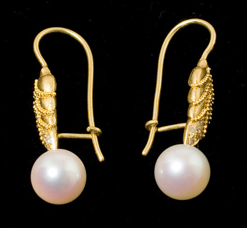 Pearl & Diamond Earrings by Tomi (American Jewelry)