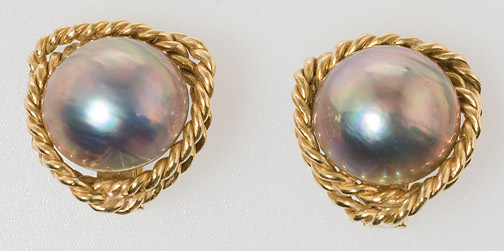 Abalone Pearl Clip Earrings by Anonymous (American Jewelry)