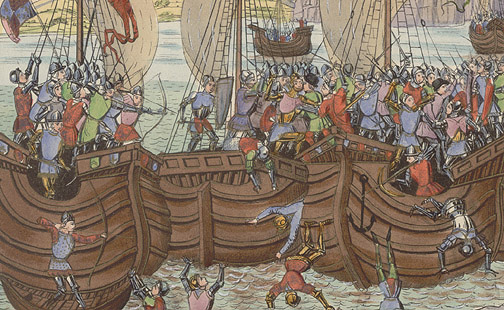 Manuscript Illumination: Earl of Pembroke Attacked by Anonymous (European Print)